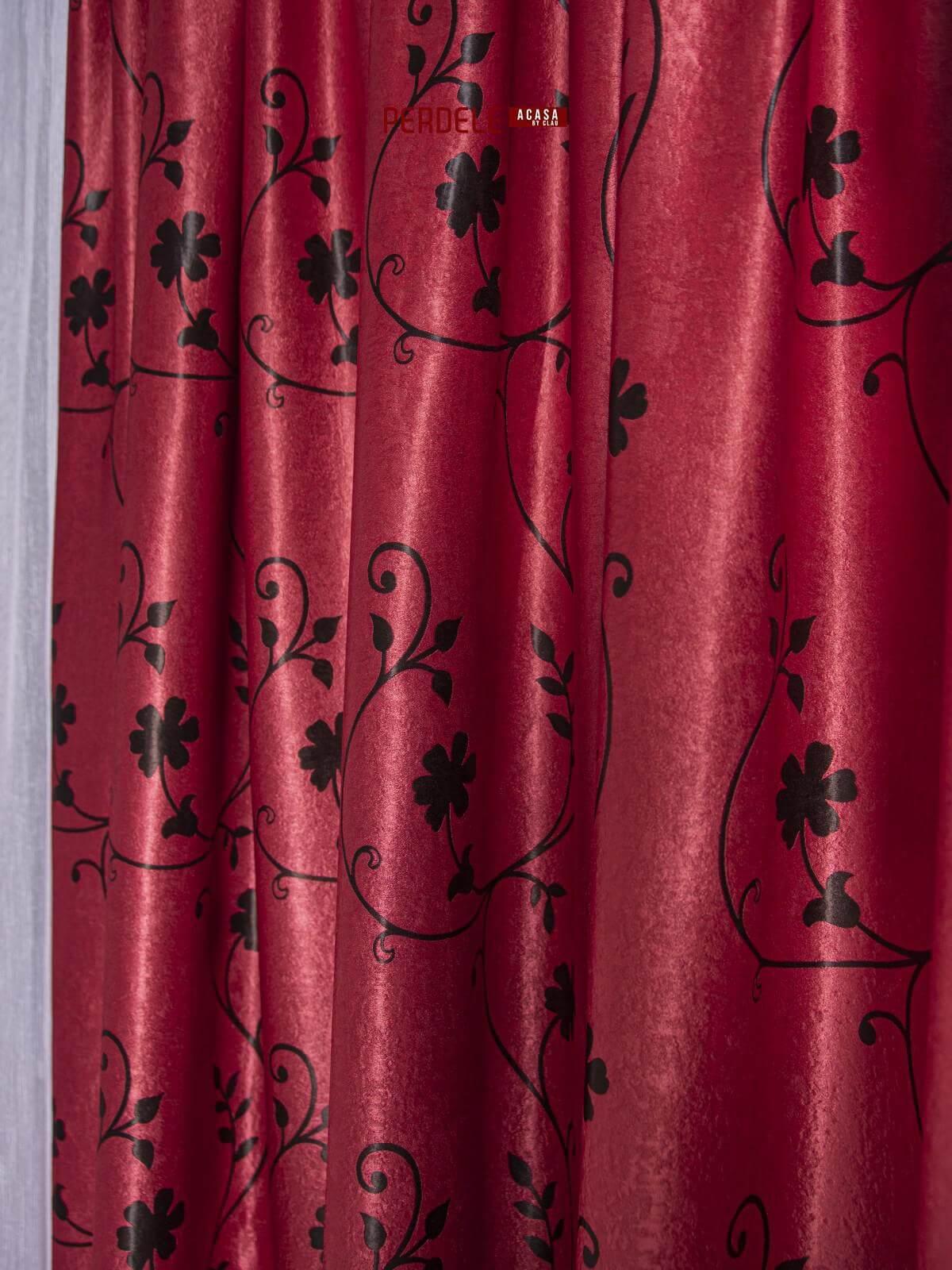 Draperie Blackout, grena / negru, model flori