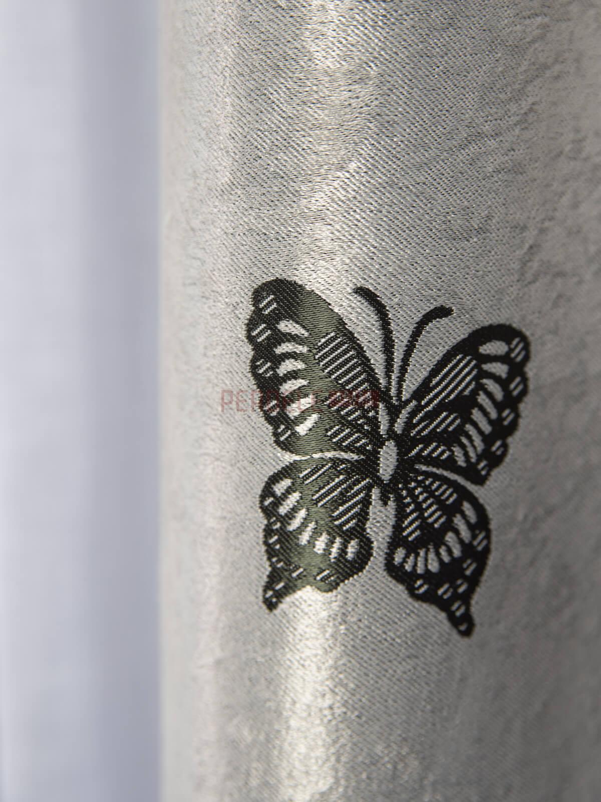 Draperie blackout, gri/negru, model fluturi