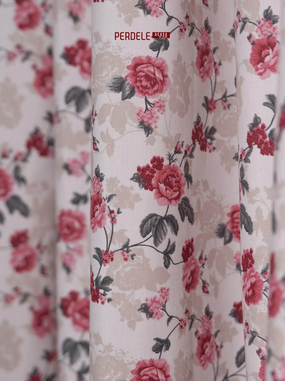 Draperie bumbac ,model flori crem/rosu