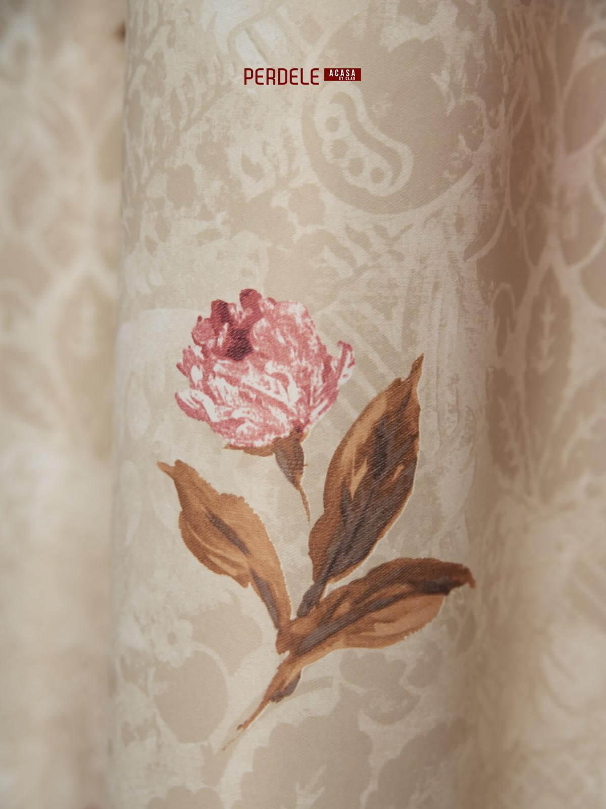 Draperie saten model flori bej,roz