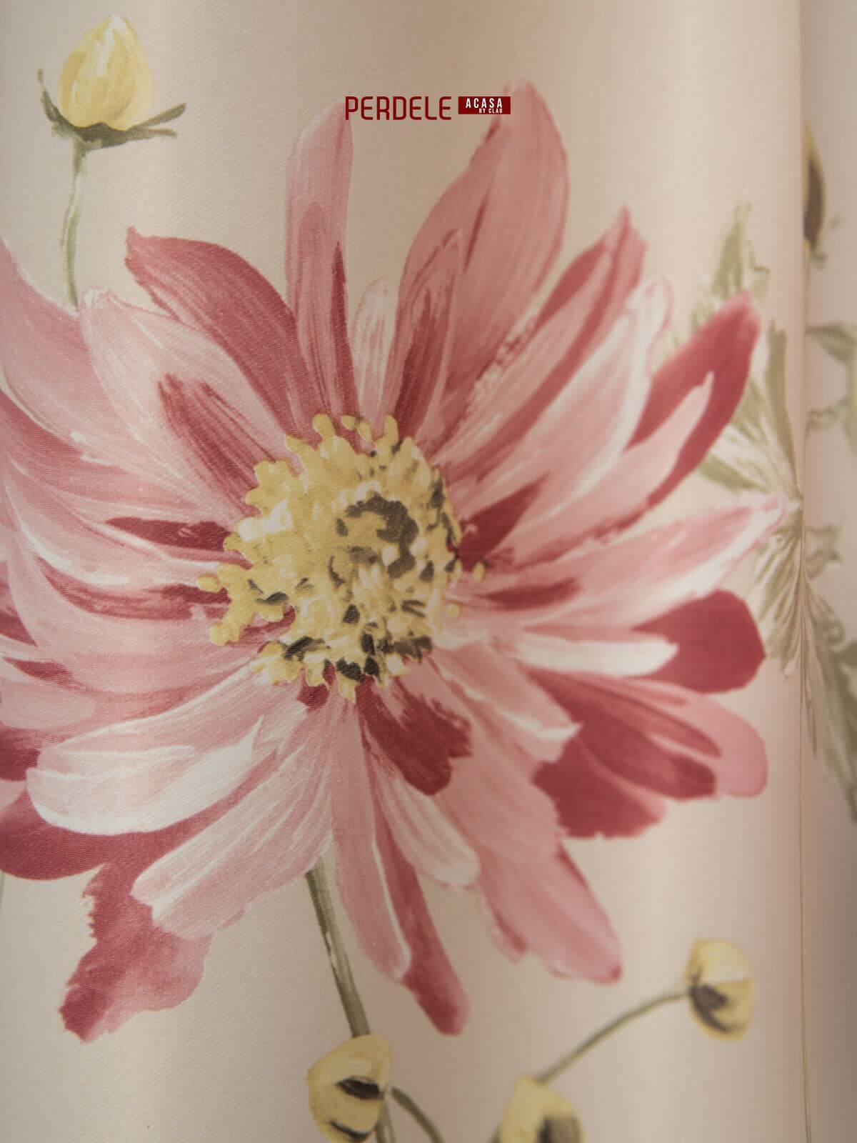 Draperie saten model flori crem,roz