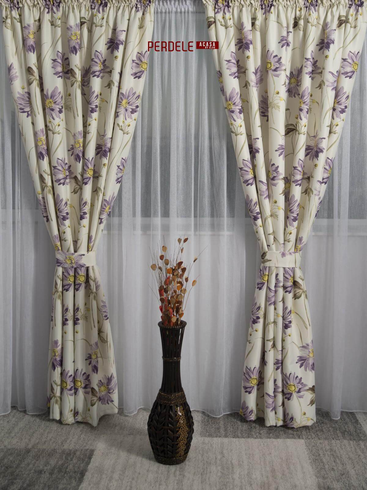 Draperie saten model flori ivoire,lila