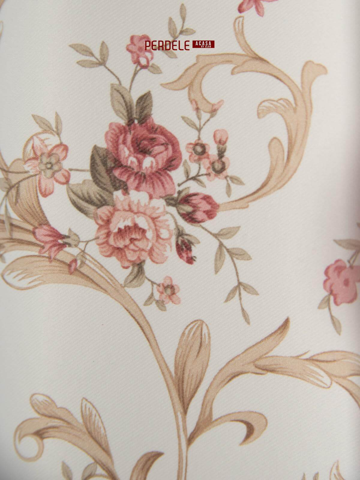 Draperie saten model flori ivoire,rosu