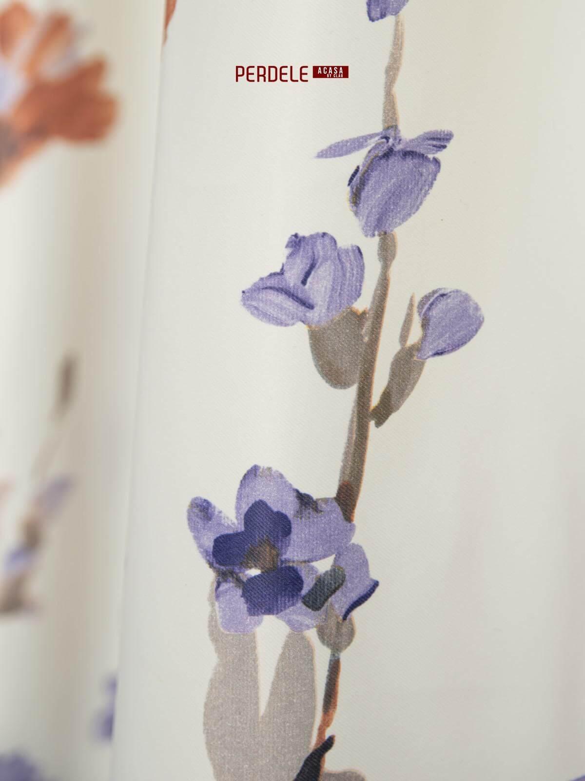 Draperie saten model flori mov