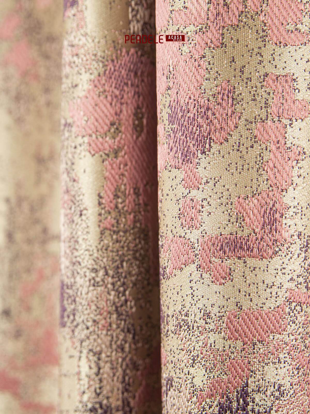 Draperii stofa crem,roz,mov