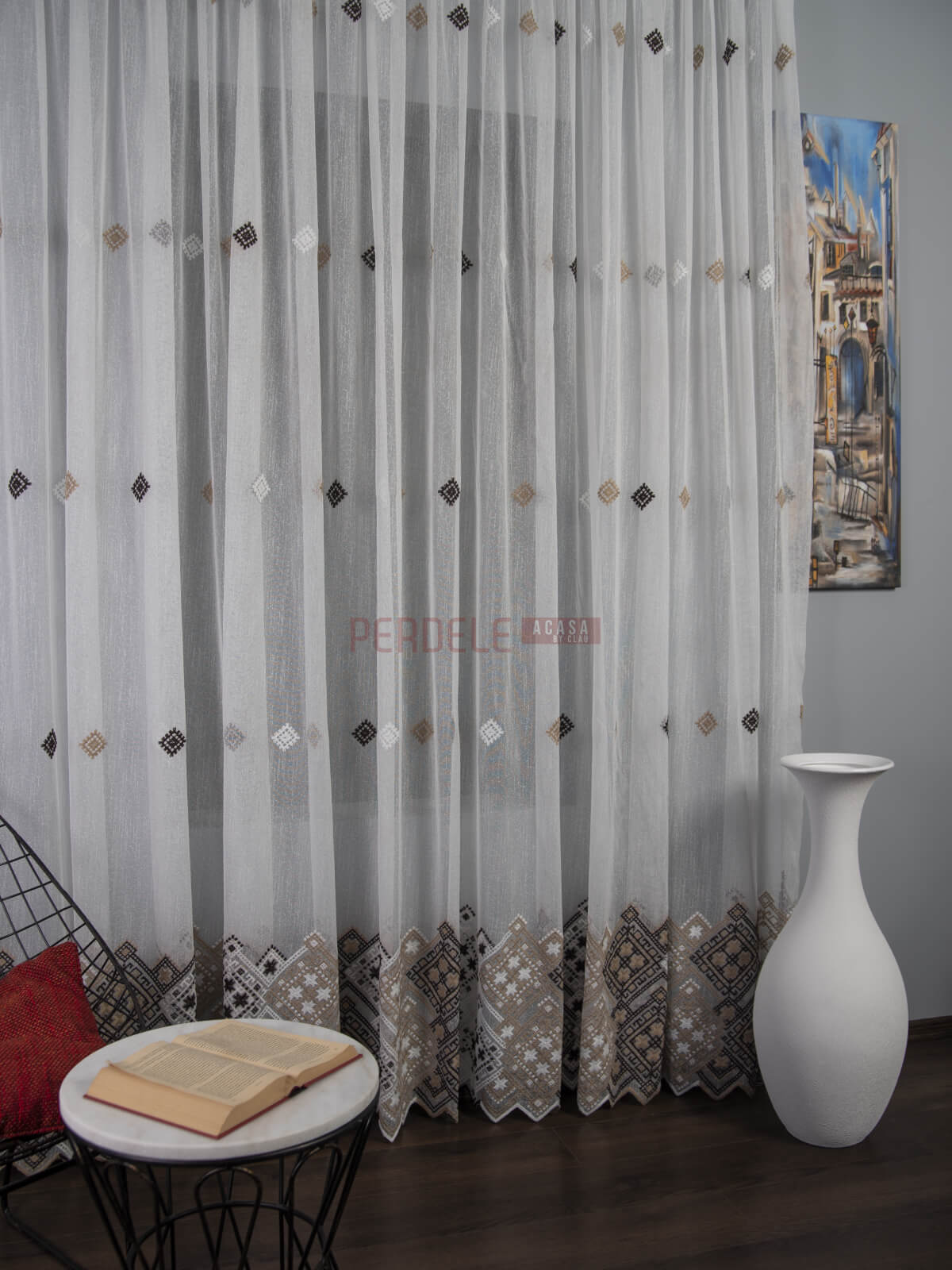 Perdea borangic, inspiratie traditioal Romaneasca, ivoire/bej/maro