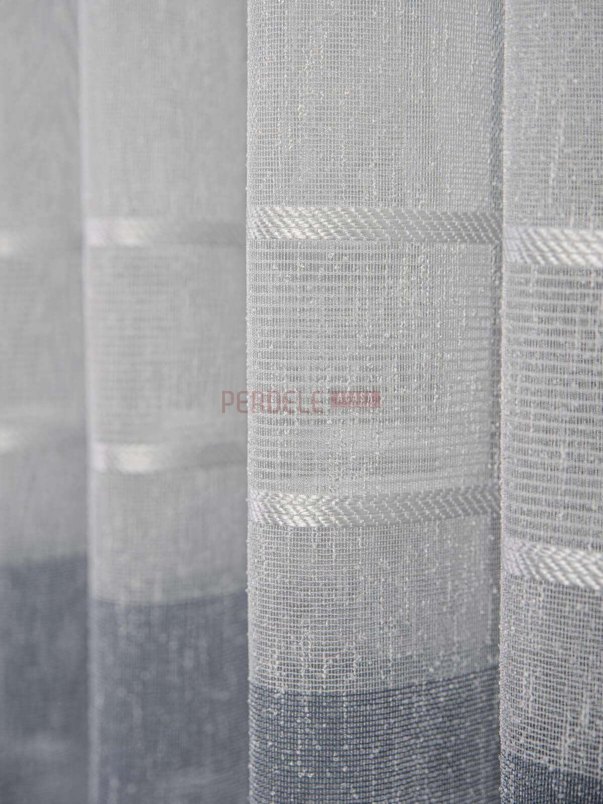 Perdea borangic, model dungi, ivoire/bleu