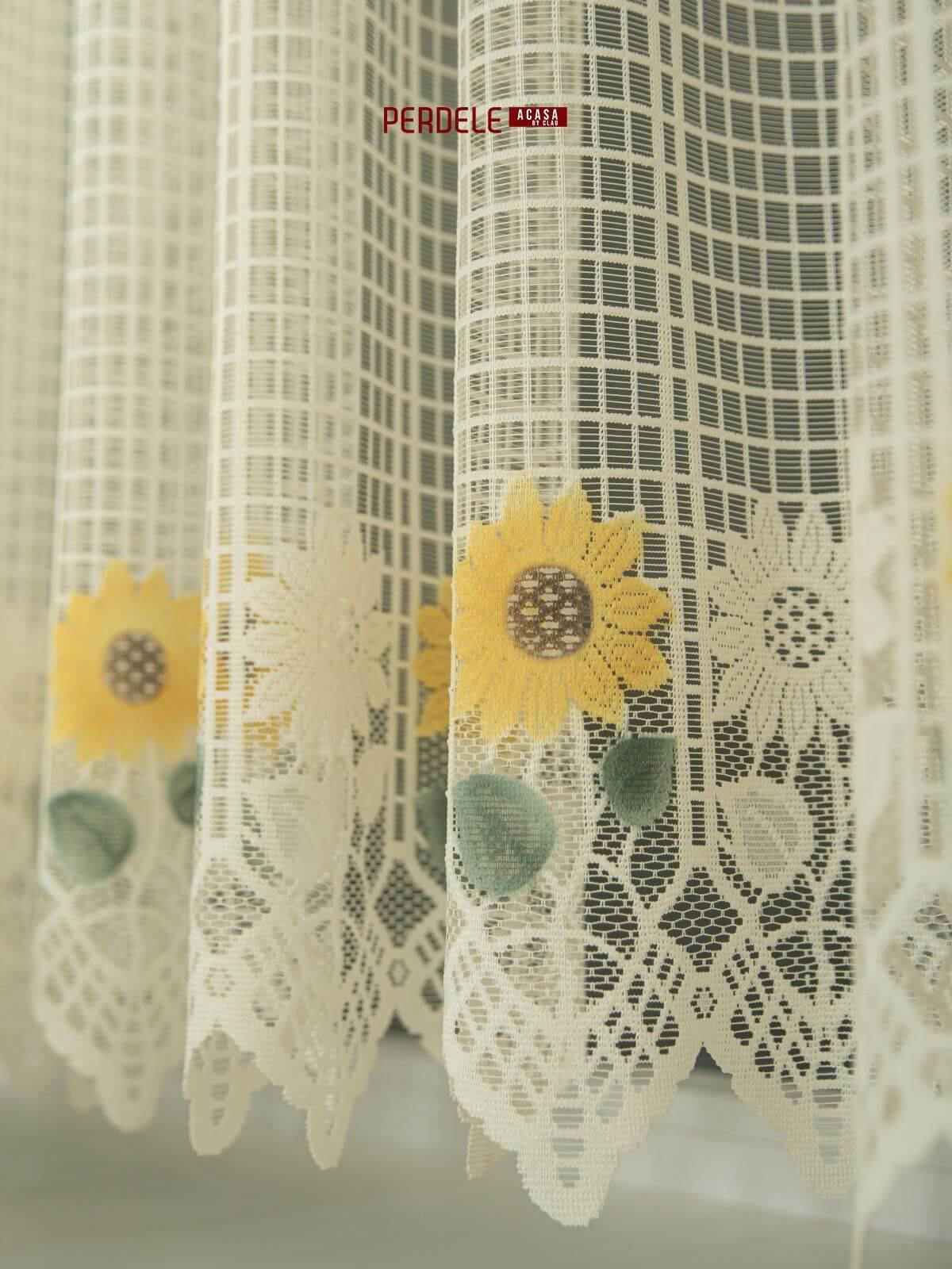 Perdea de pascani crem,floarea soarelui