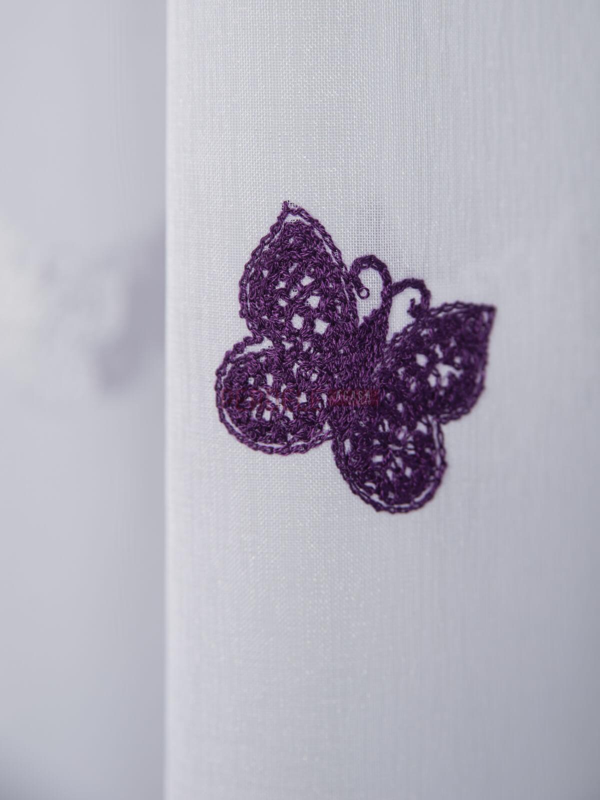 Perdea in brodat, alb/mov, model fluturi