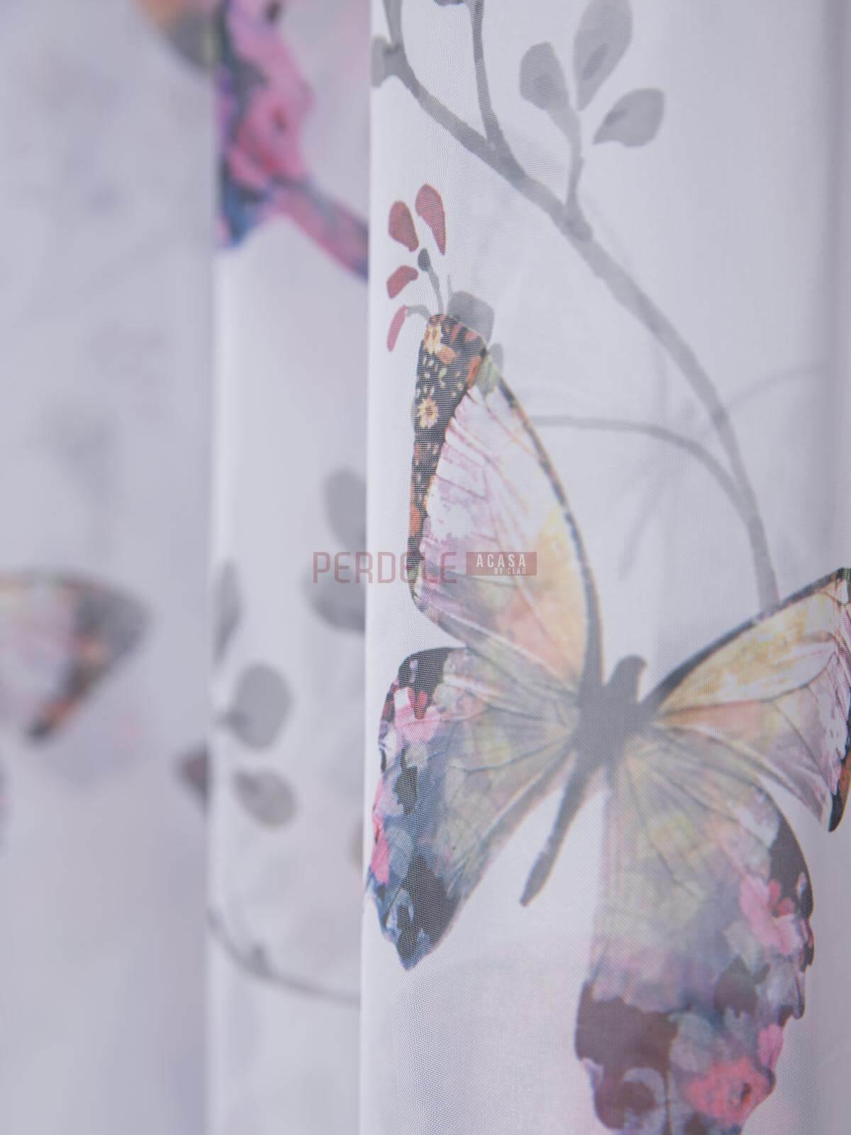 Perdea voal, fluturi multicolori