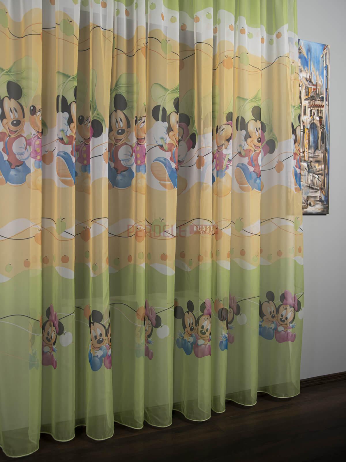 Perdea voal model pentru copii cu Mikey/Minnie Mouse